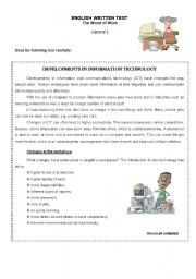 English Worksheet: Test The World of Work