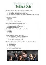 Twilight trivia, quiz