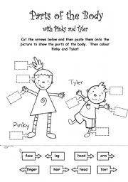 English Worksheet: Parts of the Body with Pinky and Tyler