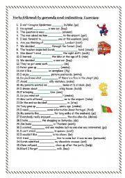 Verbs followed by -ing and infinitive - exercises - ESL worksheet by ...