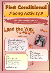 English Worksheet: First Conditional - Song Activity - Lead The Way (Mariah Carey)