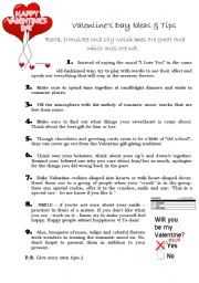 English Worksheet: Valentines Day tips and ideas
