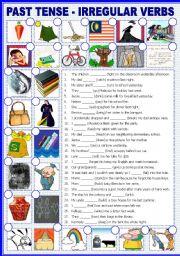 English Worksheet: PAST TENSE - Irregular Verbs with B/W version