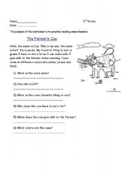 English Worksheets: Comprehension: The Farmer�s Cow