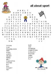 English Worksheet: word search sport