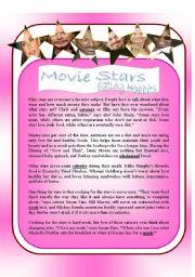English Worksheet: RC : Movie Stars eating habits