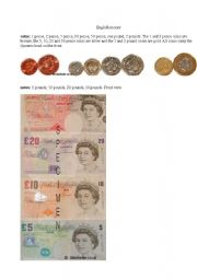 English Worksheet: English coins and notes