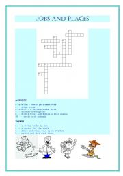 English worksheet: Jobs and places of work crossword