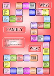 English Worksheets: boardgame - family (B/W, editable)