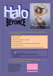 English Worksheets: Beyonce ´halo´