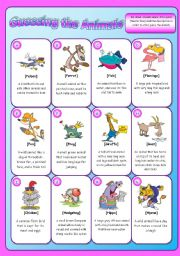 English Worksheet: Animal description Game