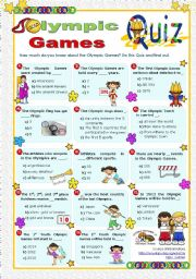 English Worksheet: Olympic Games Quiz