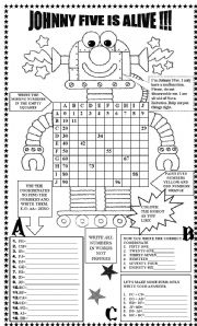 English Worksheets: JOHNNY FIVE IS ALIVE !!!  WITH KEY