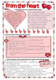 English Worksheet: FROM THE HEART:  Idioms and expressions with Heart- completely editable KEY included