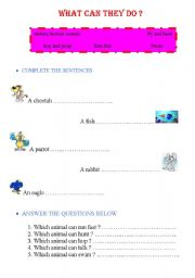 English worksheet: what can they do ?