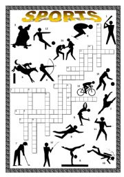 English Worksheet: Sports Crossword in silhouette