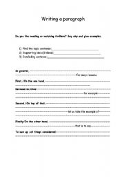 english worksheets writing a good paragraph. Black Bedroom Furniture Sets. Home Design Ideas