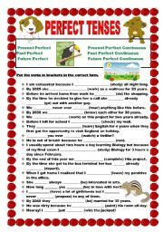 English Worksheets: Perfect tenses