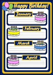 English Worksheet: BIRTHDAY CALENDAR (3 PAGES)