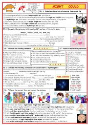 English Worksheets: Might and could