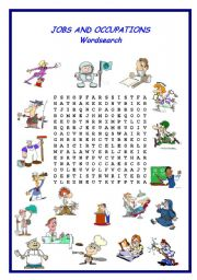 English Worksheet: jobs and occupations wordsearch