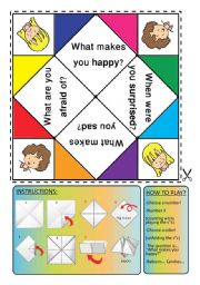 English Worksheet: feelings cootie catcher