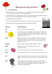 english worksheets guided writing love poems. Black Bedroom Furniture Sets. Home Design Ideas