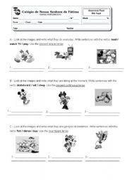 Grammar test - verbs 6th year