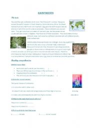 English Worksheet: pollution:rain forest
