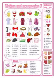 English Worksheets: Clothes and accessories 2 (editable)