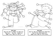 English Worksheets: Match and number the parts of the body