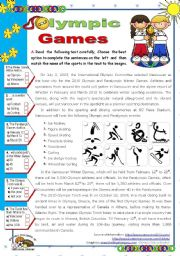 English Worksheet: Olympic Games  - Vancouver 2010 for elementary and lower intermediate stds.