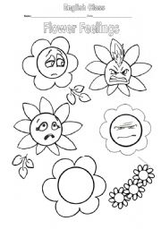 English Worksheet: Flower Feelings - for drawing and colouring