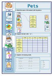 English Worksheets: Pets (09.02.10)