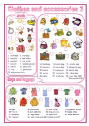 English Worksheets: Clothes and accessories 3  (editable)