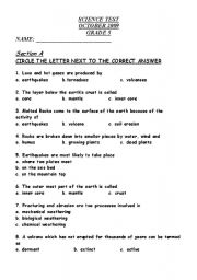 English Worksheet: Earth Science--Volcanoes and Earthquakes