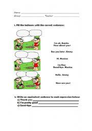 English Worksheets: Greetings Worksheet - Monica�s Gang!