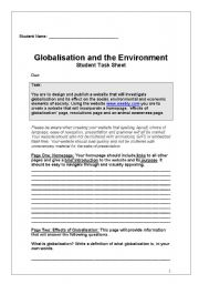 English Worksheets: Globalization research task