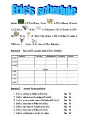 Worksheet Reading A Schedule Worksheet english teaching worksheets daily schedule schedule