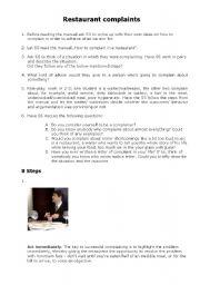 English Worksheet: Restaurant complaints