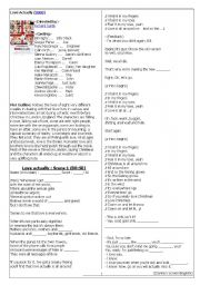 Screen English Worksheet with blanks (Movie : Love Actually)