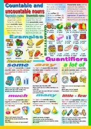 English Worksheet: COUNTABLE AND UNCOUNTABLES NOUNS-QUANTIFIERS-QUANTITIES (B&W VERSION INCLUDED)