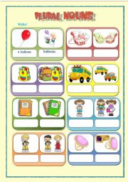English Worksheets: Plural for kids - 4 pages