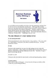 English Worksheets: American Business Letter Writing 1:  The basics