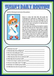 English Worksheets: SUSAN�S DAILY ROUTINE