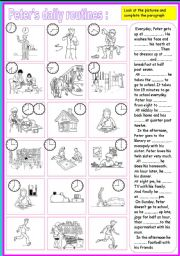 English Worksheets: peter�s daily routines