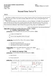 English worksheet: Second term, test n=°1 (Level 2 - Middle School)