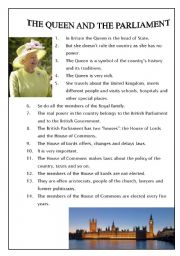 English Worksheets: The Queen and the Parliament