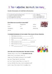 English Worksheet: too much, too many