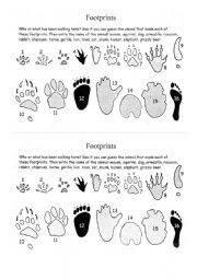english worksheet footprints. Black Bedroom Furniture Sets. Home Design Ideas